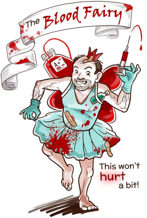 An illustration of a middle aged man dressed in a bloody fairy costume