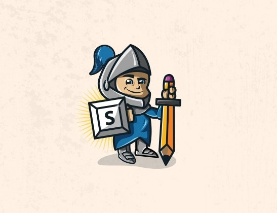 An illustration of a knight with a pencil as a sword and a letter as a shield