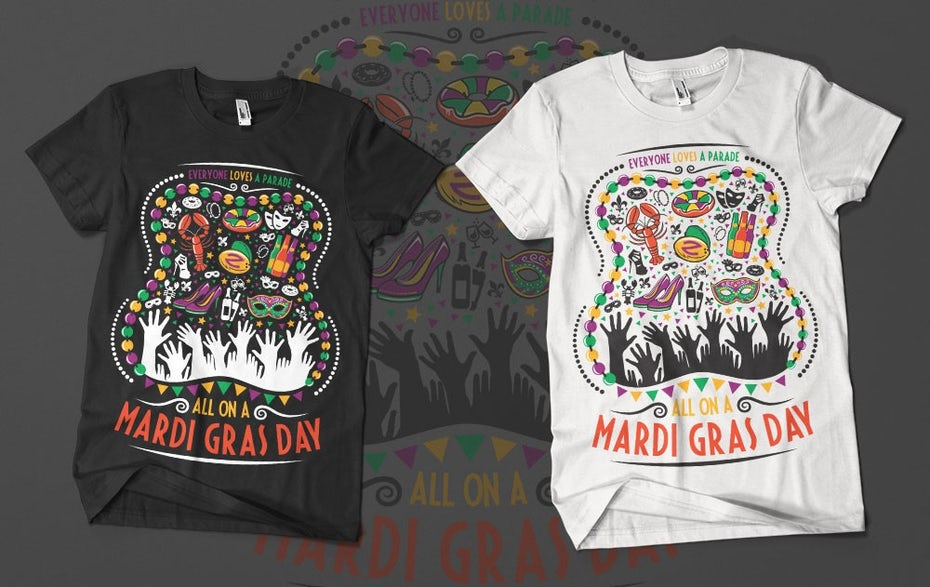 T-shirt design celebrating Mardis Gras