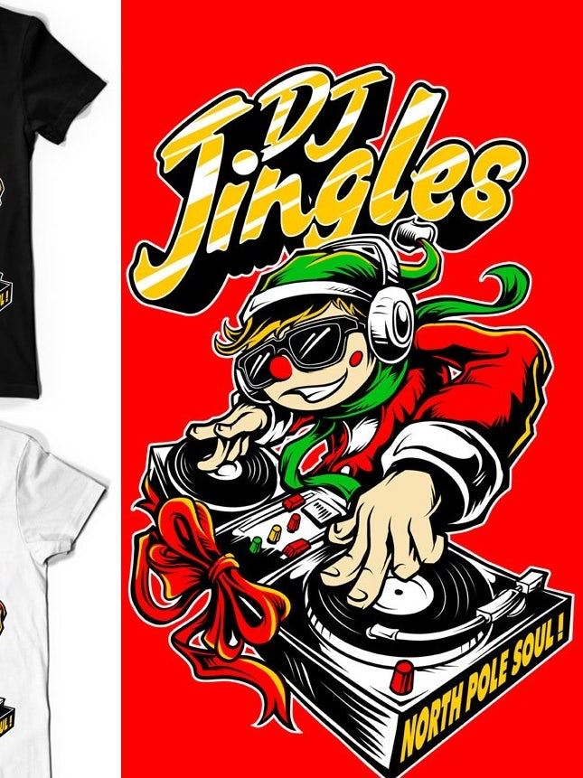 DJ elf t-shirt illustration