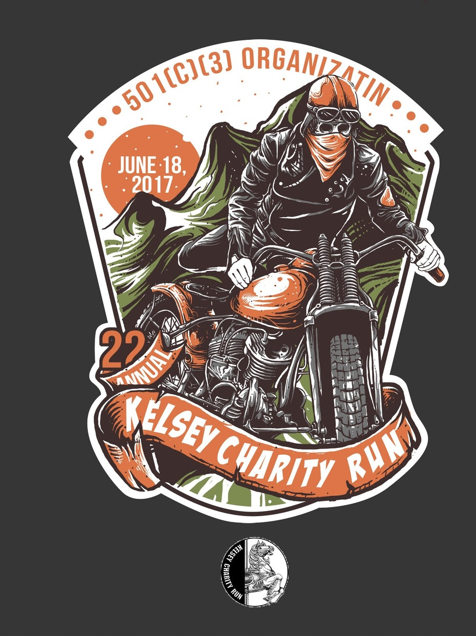 Biker t-shirt illustration for a charity run