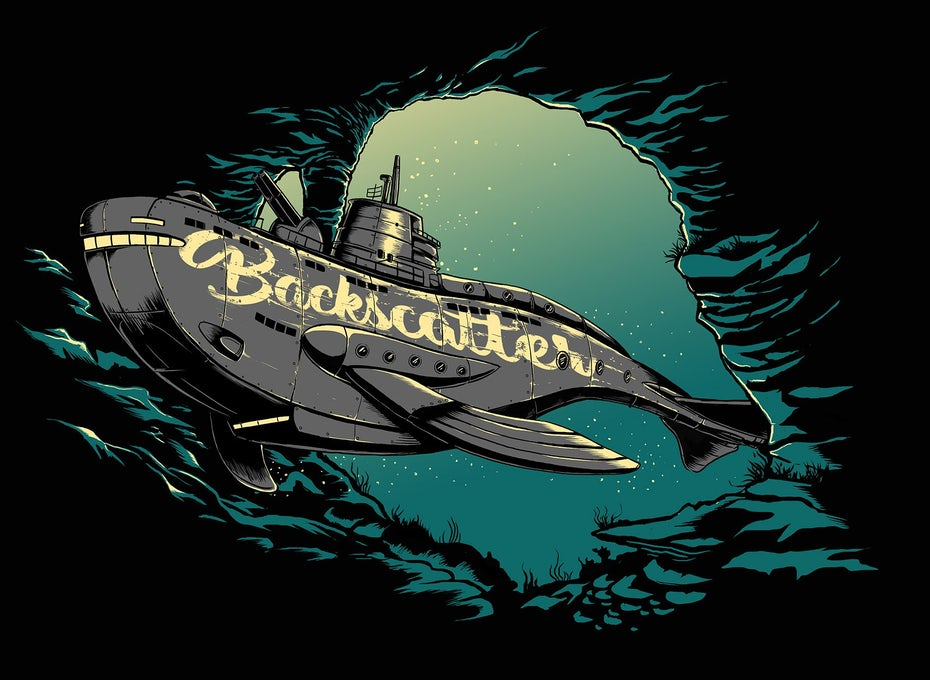 Illustrated submarine whale t-shirt