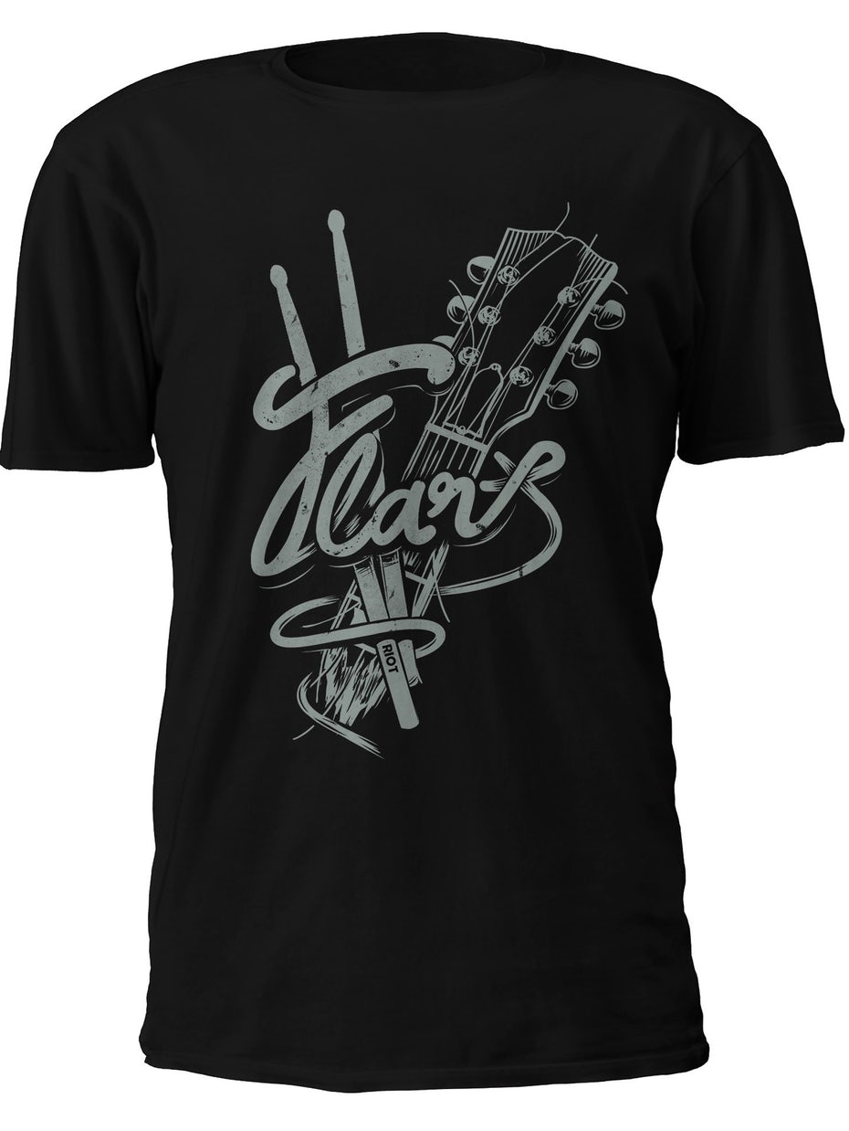 Illustrated t-shirt of rock instruments