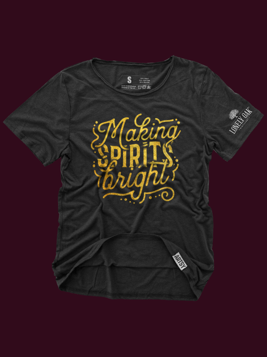 "4b248b3c Christmas t-shirt design reading ""Making Spirits Bright"""