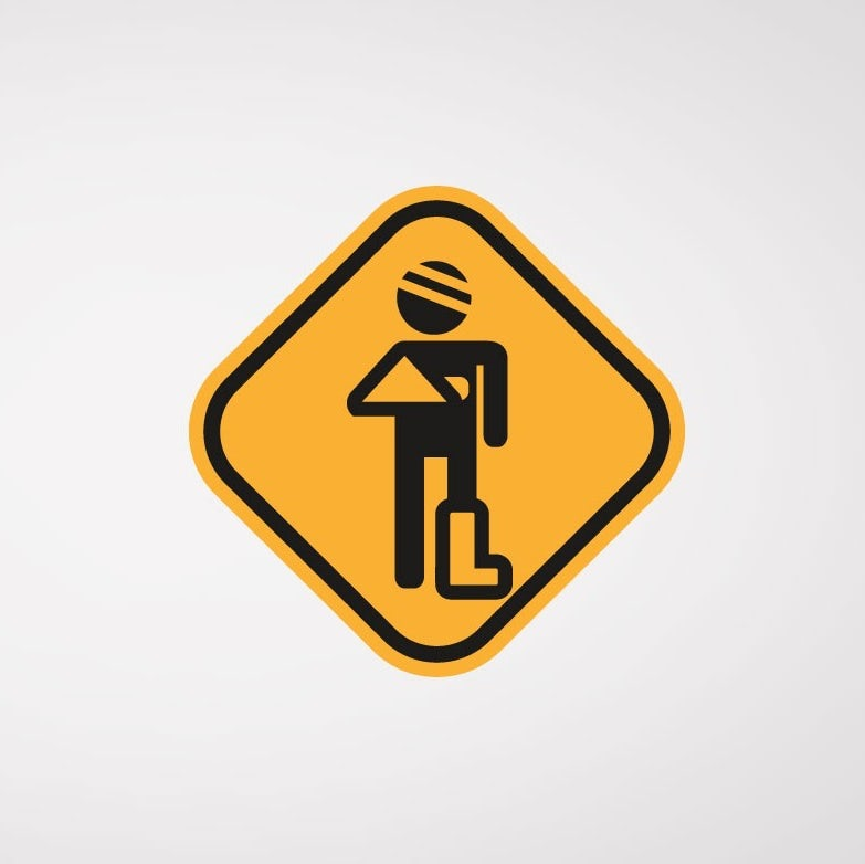 TRAFFIC SIGN, INJURED PERSON LOGO