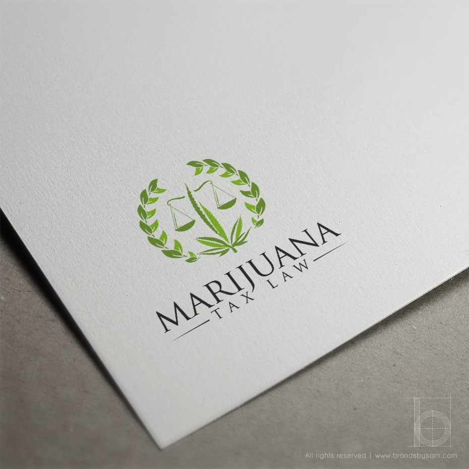 LAWYER LOGO WITH MARIJUANA LEAVES, SCALES OF JUSTICE