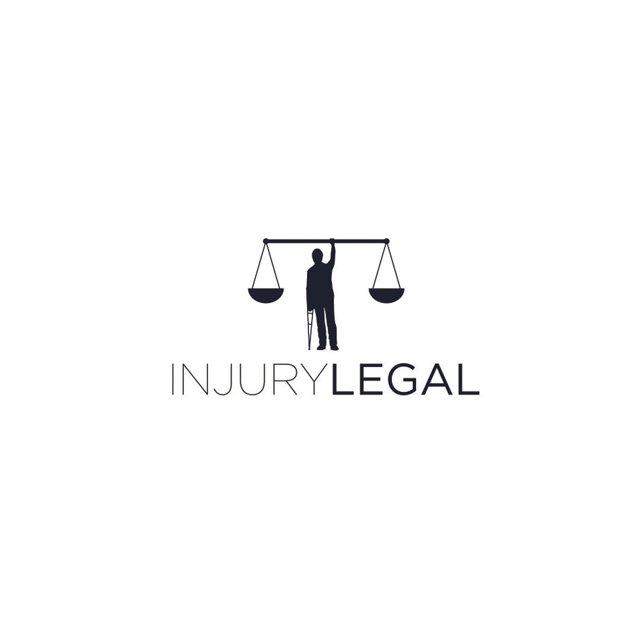 LEGAL LOGO WITH MAN ON CRUTCH, SCALES OF JUSTICE
