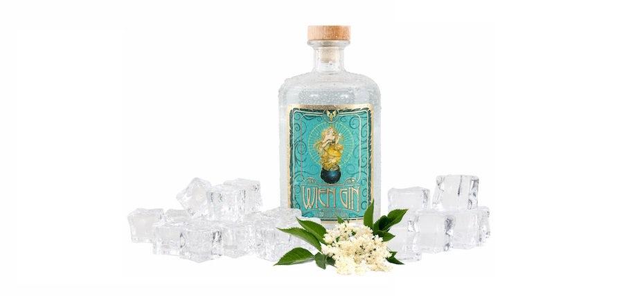 Flaschenetikett mit Design für Wien Gin