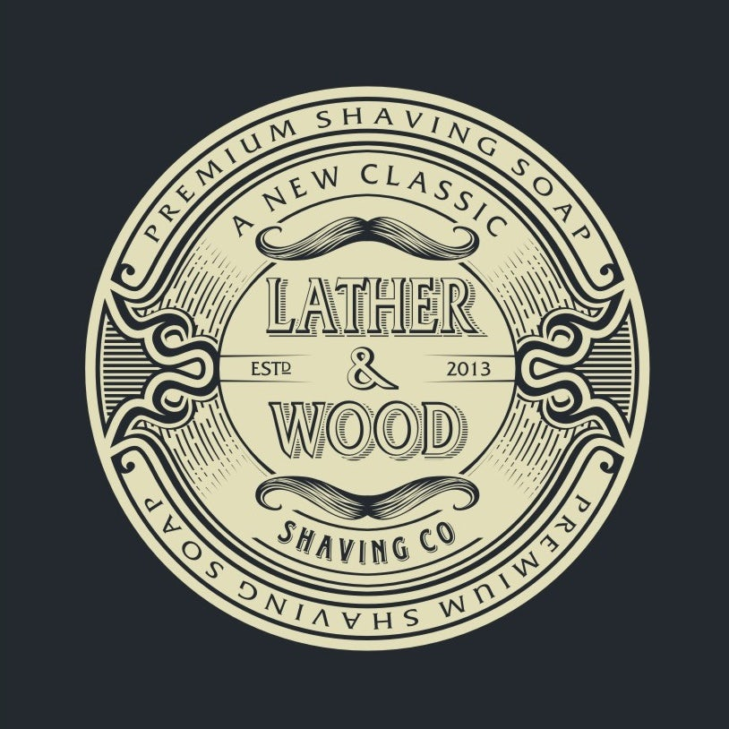 best logo design with vintage mustache drawing for shaving company