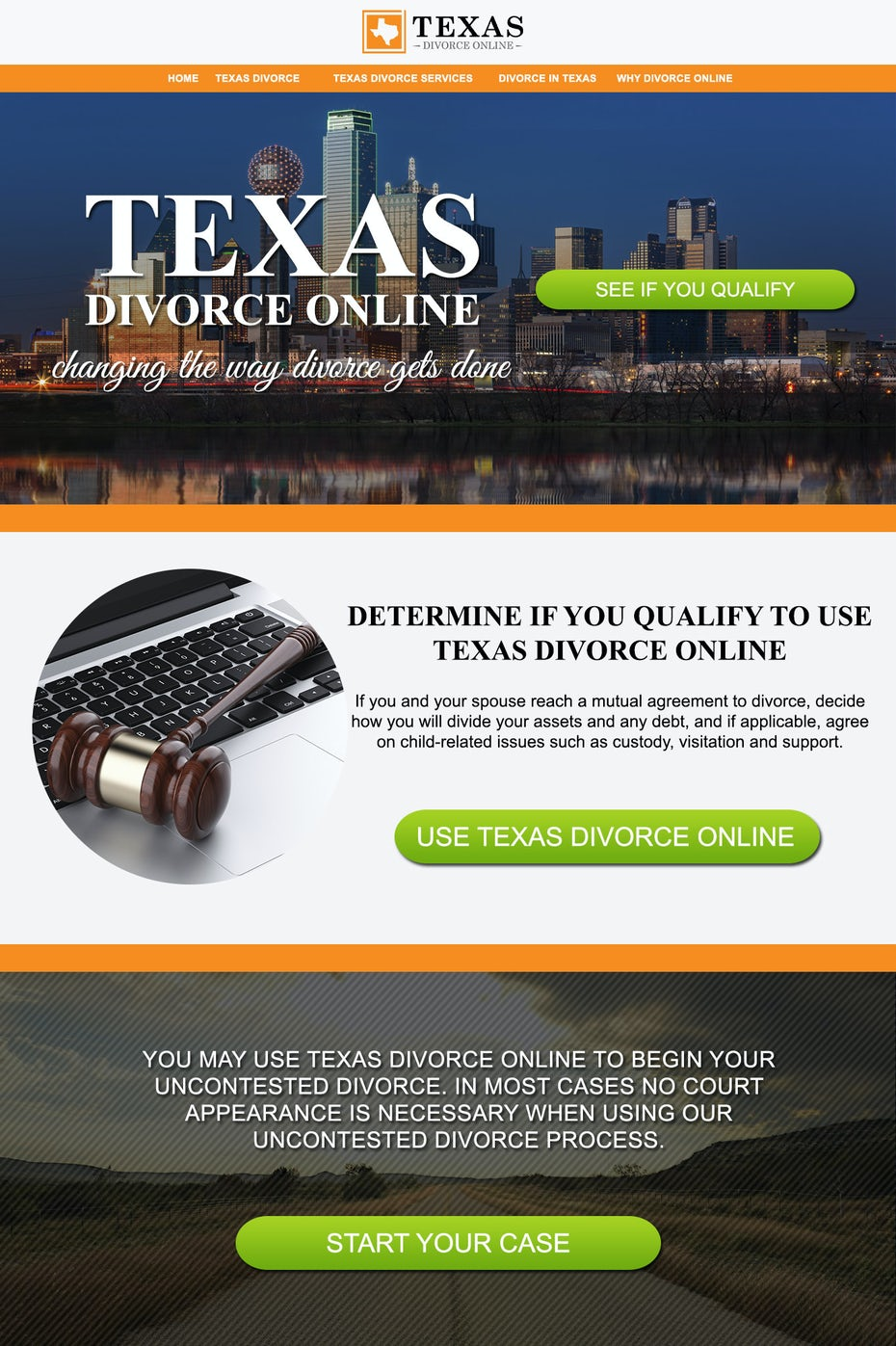 Divorce landing page