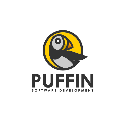 creative logo design with geometric line art puffin