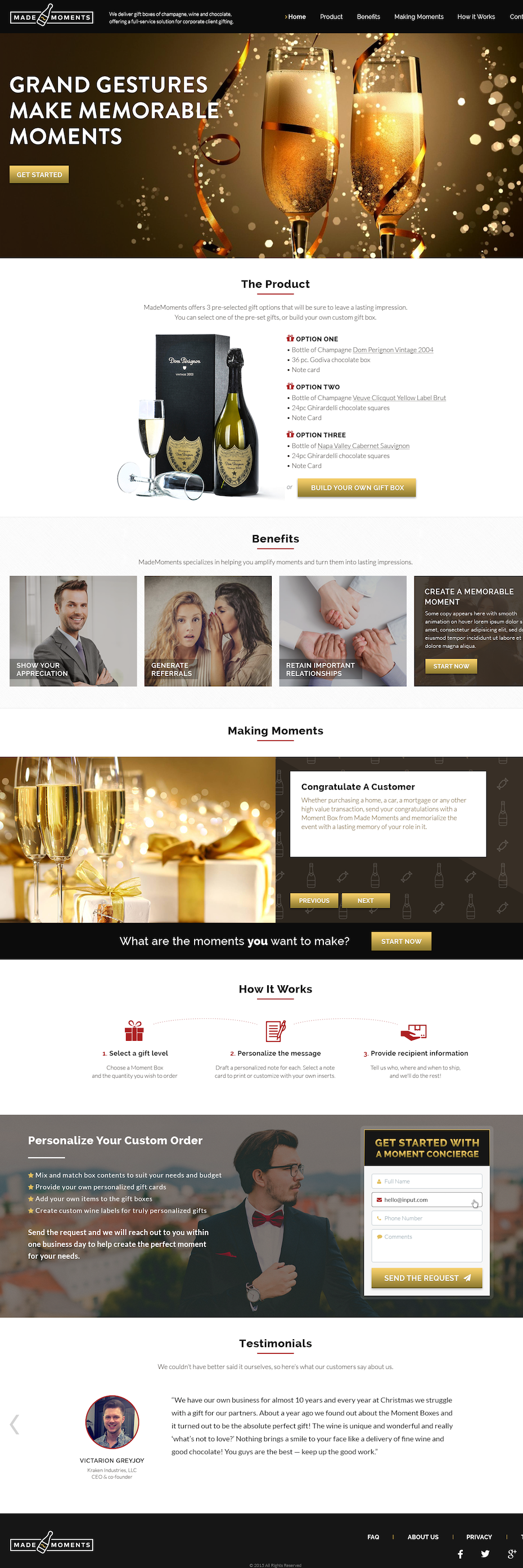 Champagne landing page