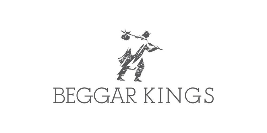 creative logo design with drawing of beggar wearing crown