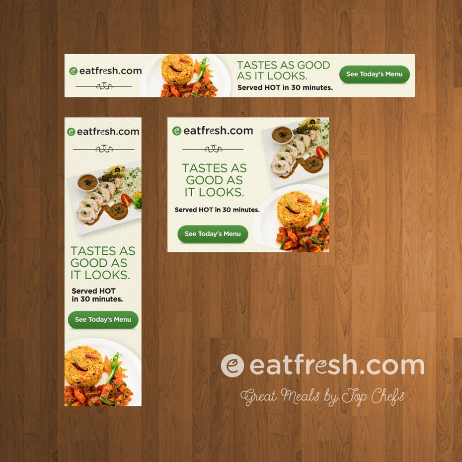 different sizes of food banner ad designs