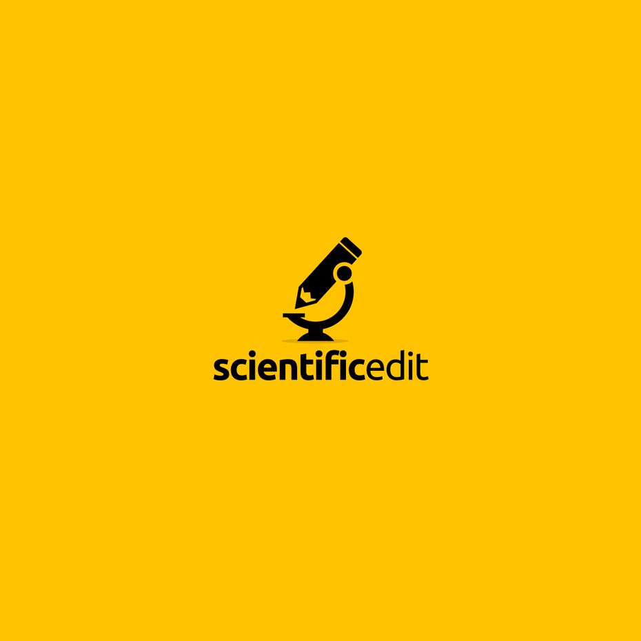 creative logo design with pencil microscope
