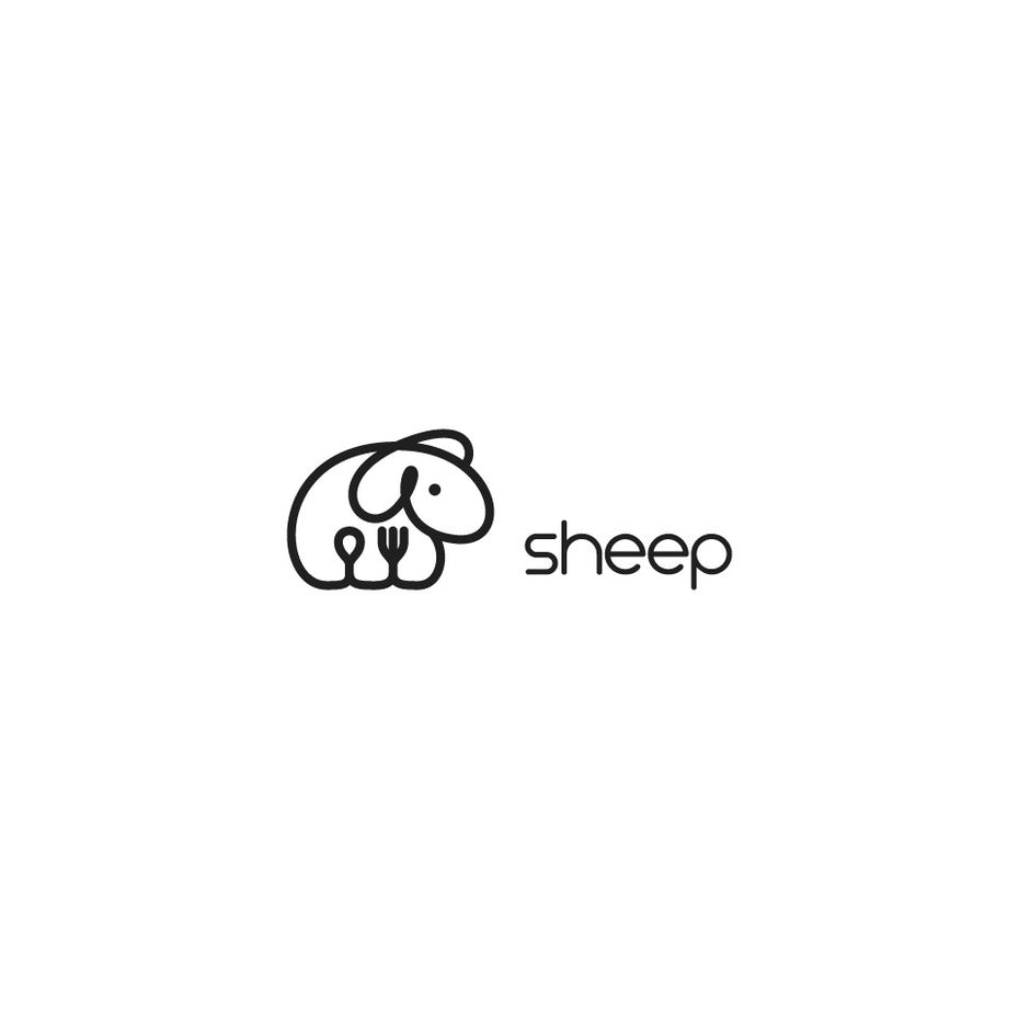 best logos example: simple sheep line drawing