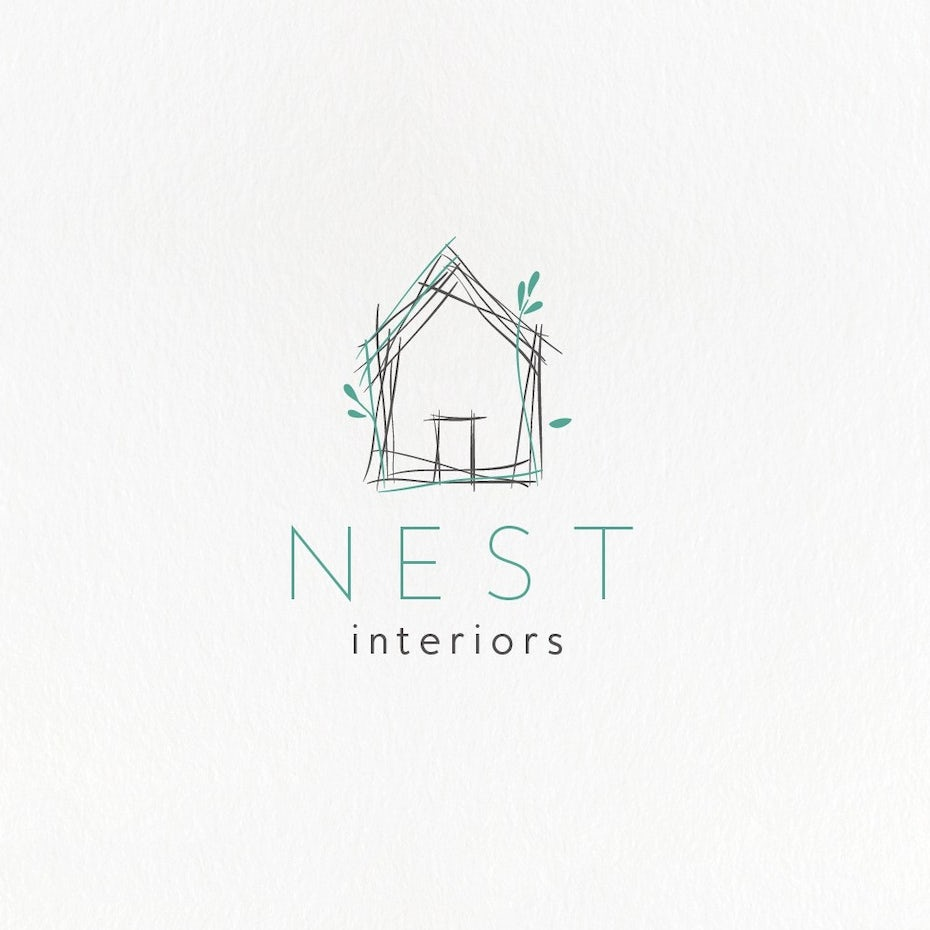 best logo designs example with drawing of house made of twigs