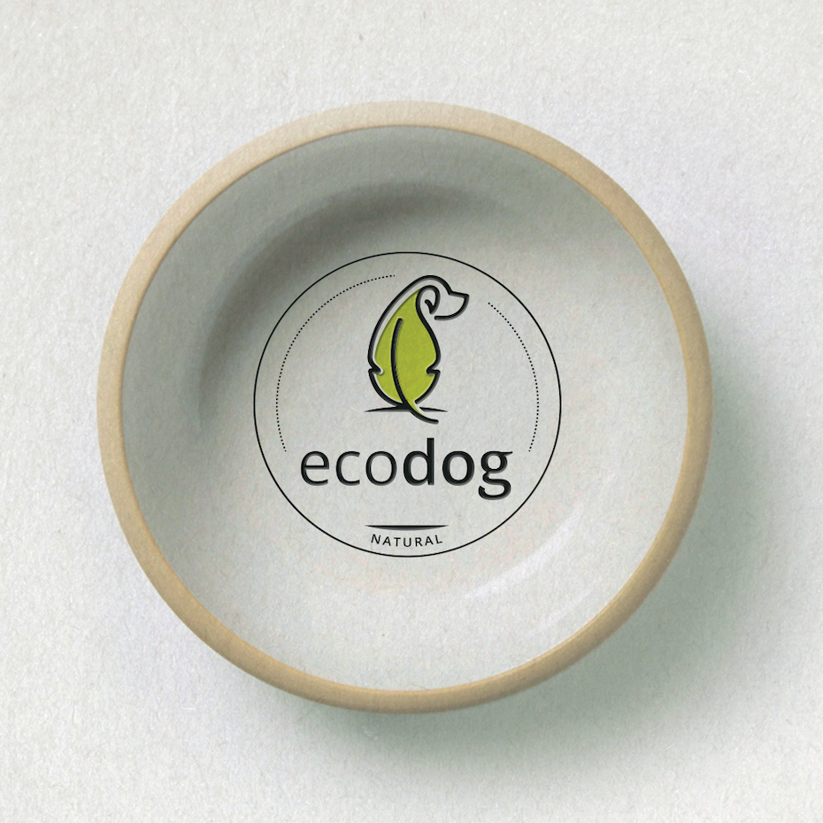 creative logos example: logo with dog in form of leaf