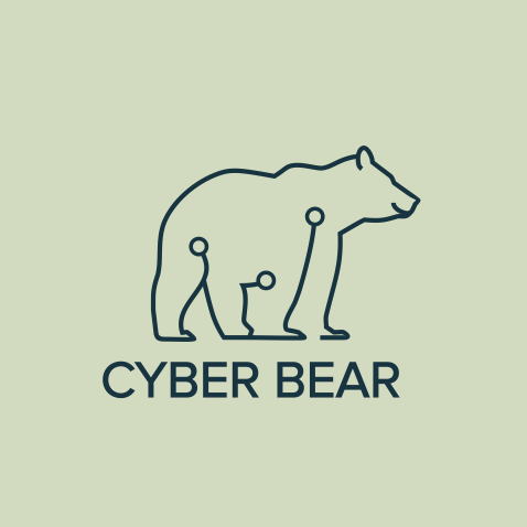creative logo example with polar bear made of line art circuits