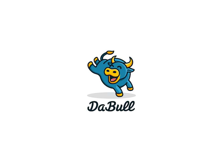 creative logo design with cartoon bull