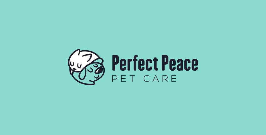 creative logo design with dog and cat snuggling peacefully