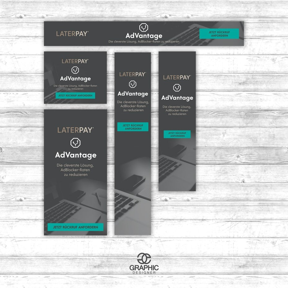 grey and teal professional banner ad design