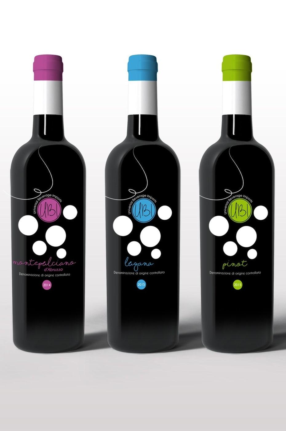 Etiquettes de vin colorée