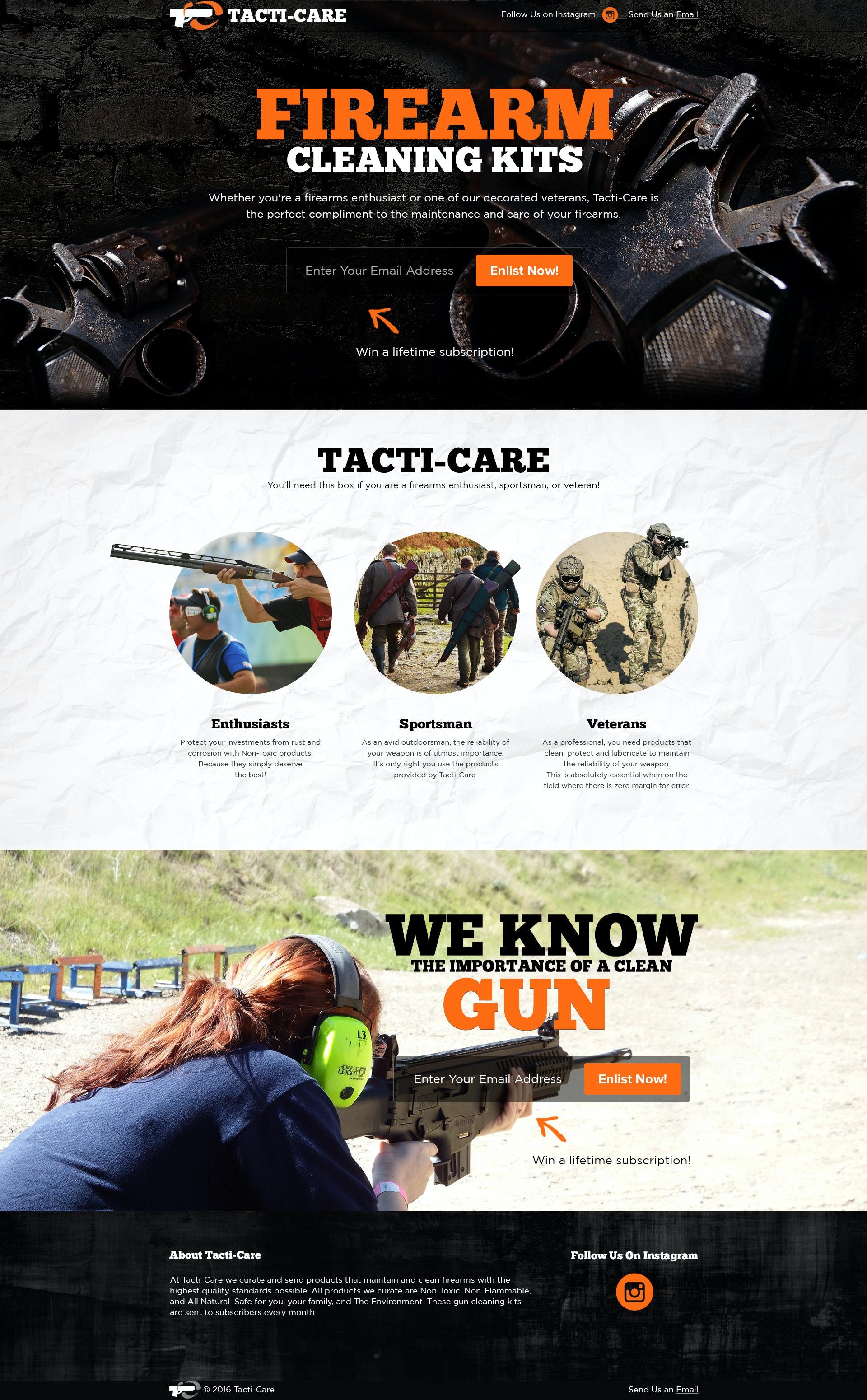 Firearm landing page