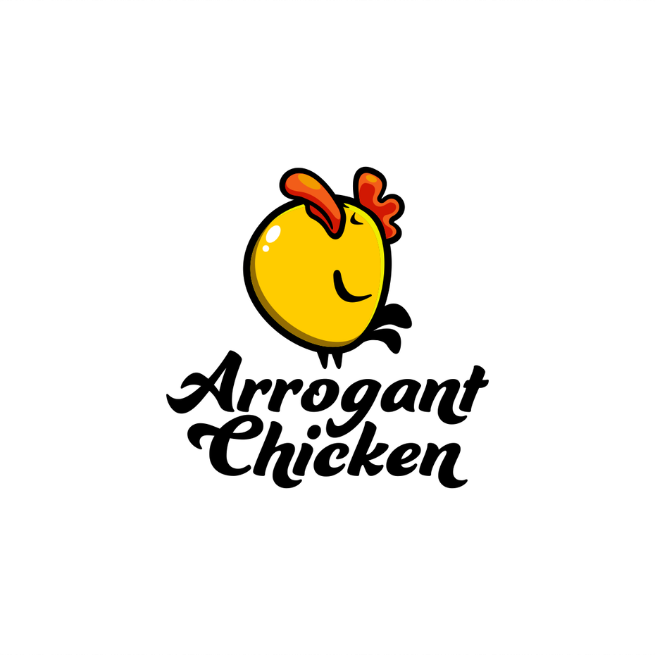 creative logos example: cartoon logo of arrogant looking chicken