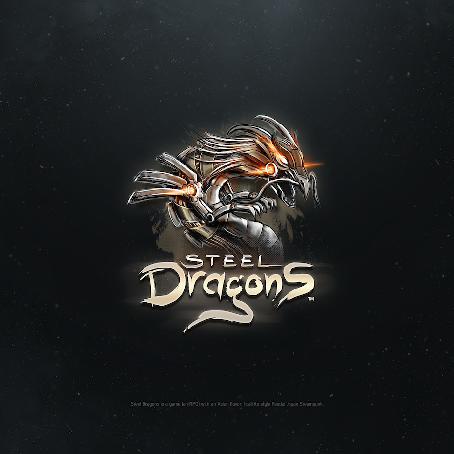 best logos example: elaborate steel dragon logo