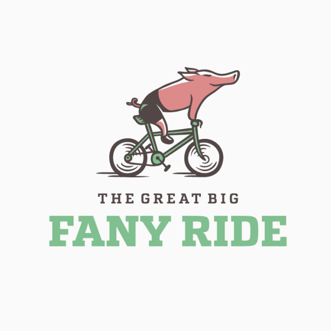 best logos example with happy pig riding bike