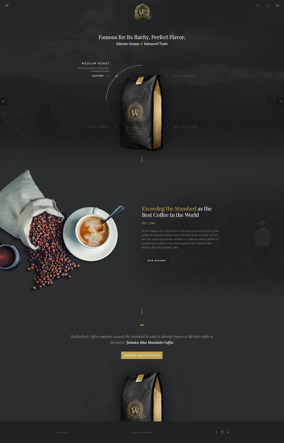 dark coffee landing page design