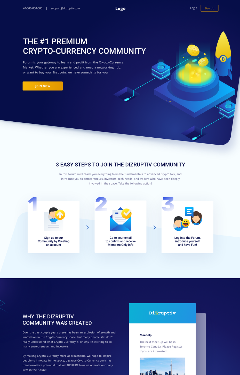 isometric landing page design