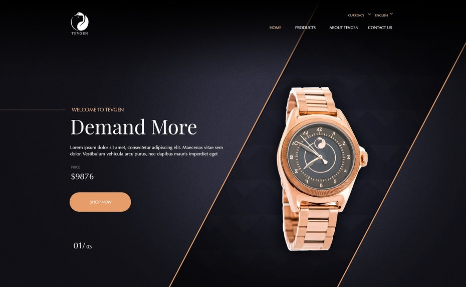 dark watch landing page design