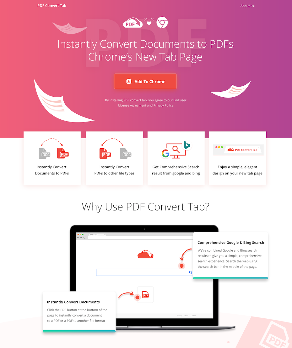 pink and orange gradient landing page design