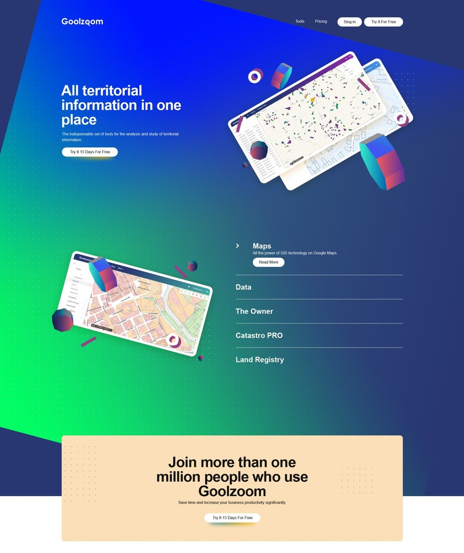blue and green neon gradient landing page design