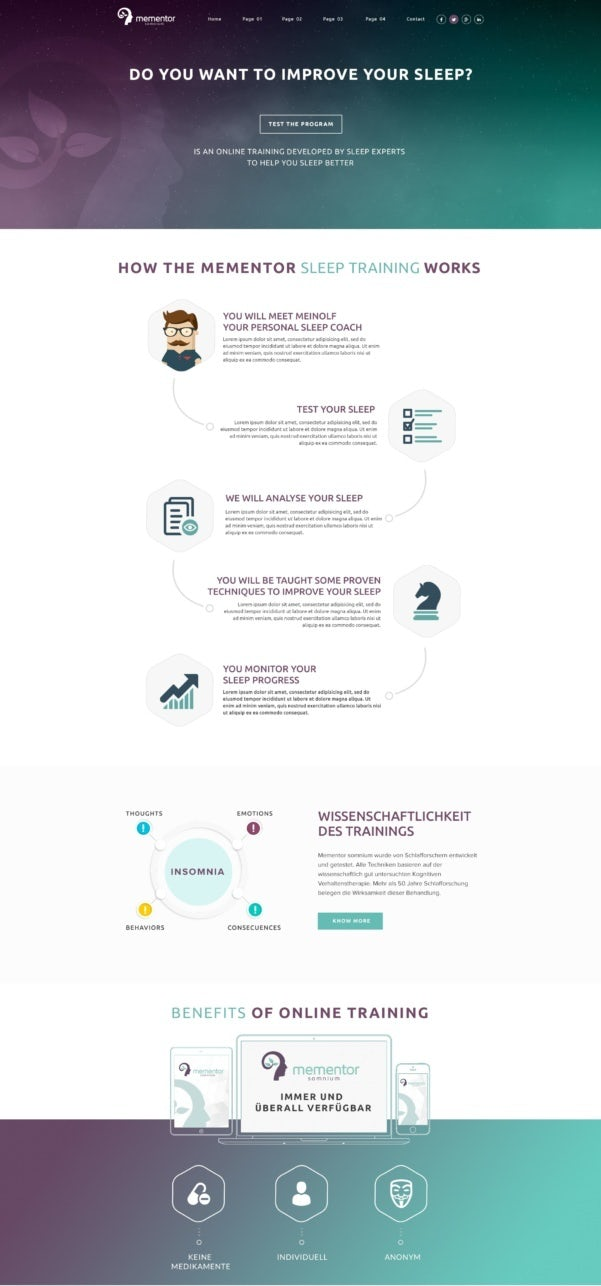 green, gray and purple gradient landing page design