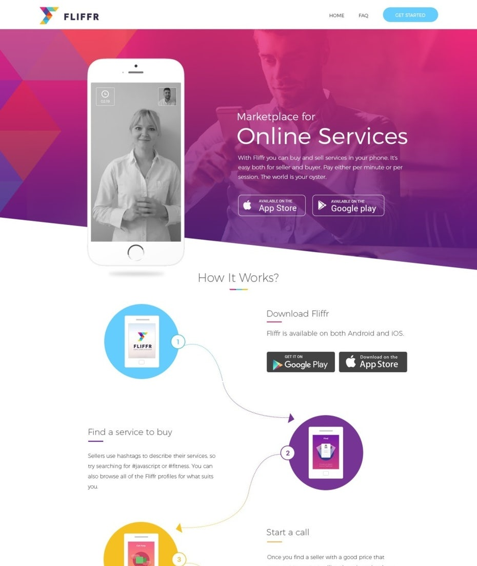 pink and purple gradient landing page design