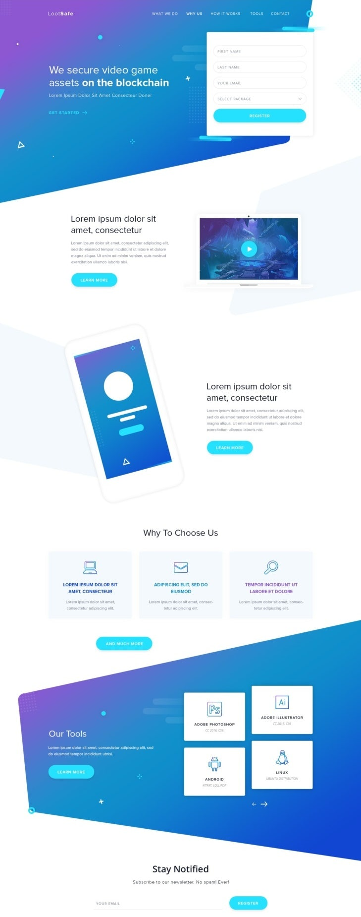 blue and purple gradient landing page design