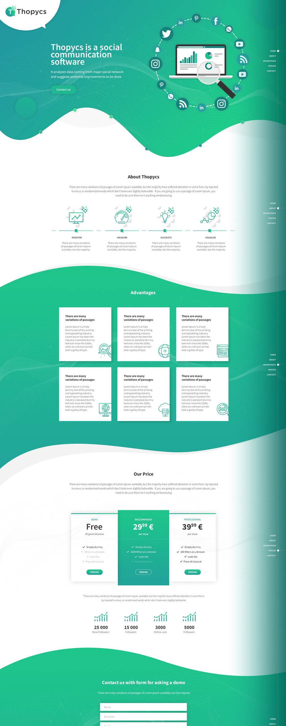 green gradient landing page design