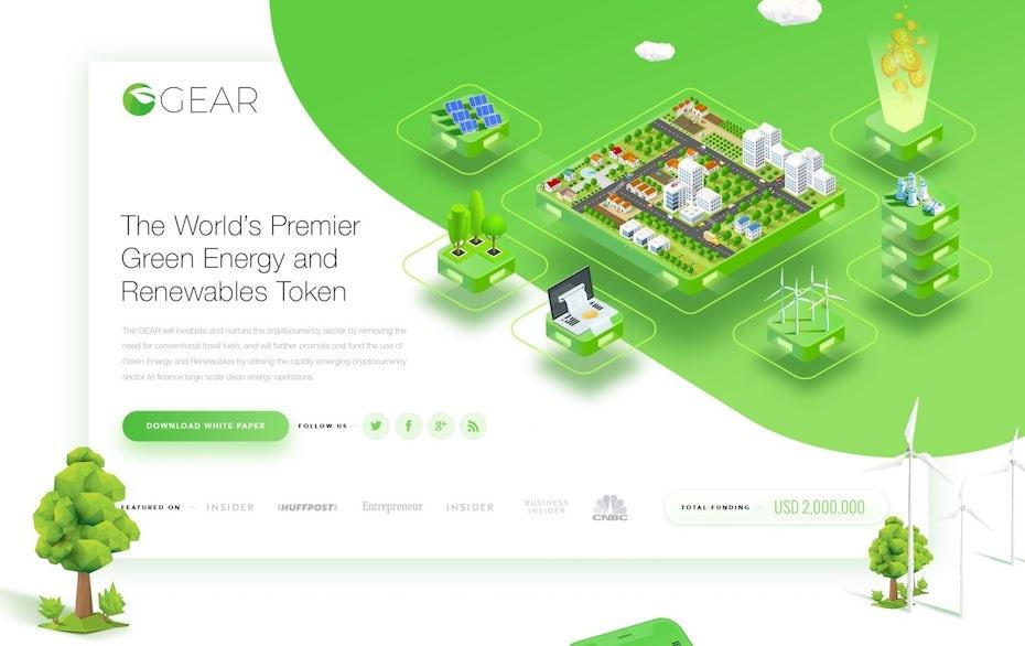 Design de landing page dans des tons de vert sur l'environnement