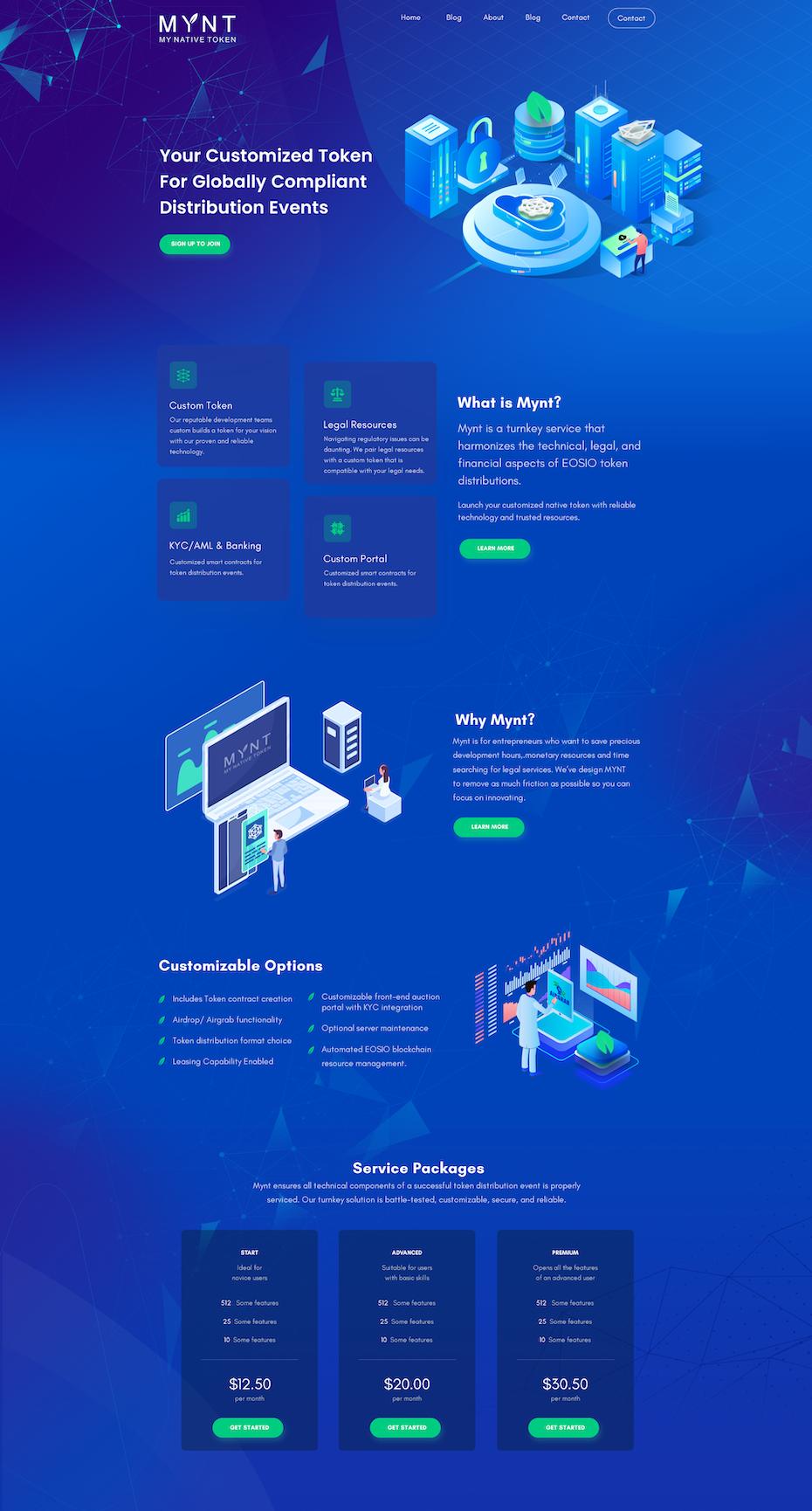 neon landing page design