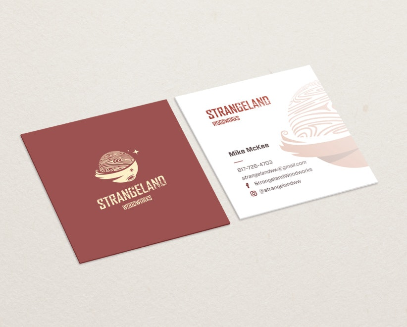 strangeland woodwords square business card