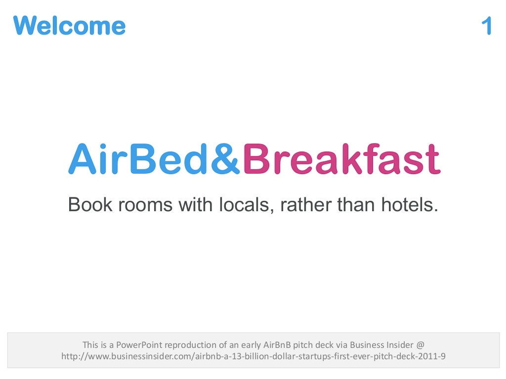 Airbnb pitch deck slide
