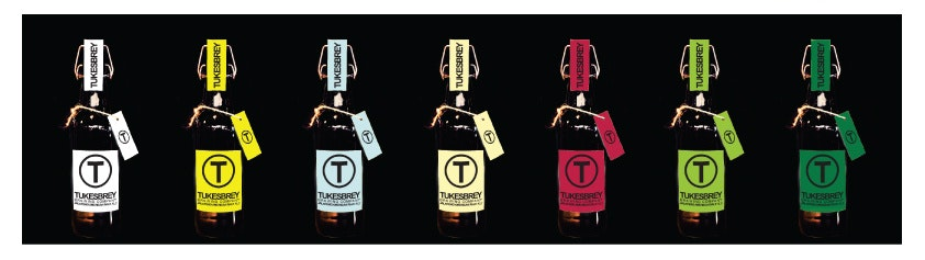 Colorful beer labels