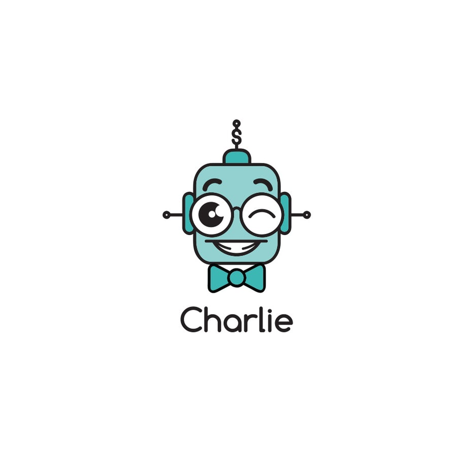 robot mascot logo design