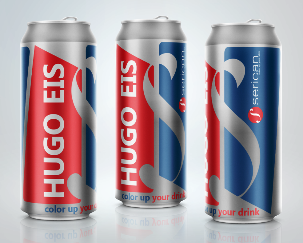 Red, white, and blue beer label design