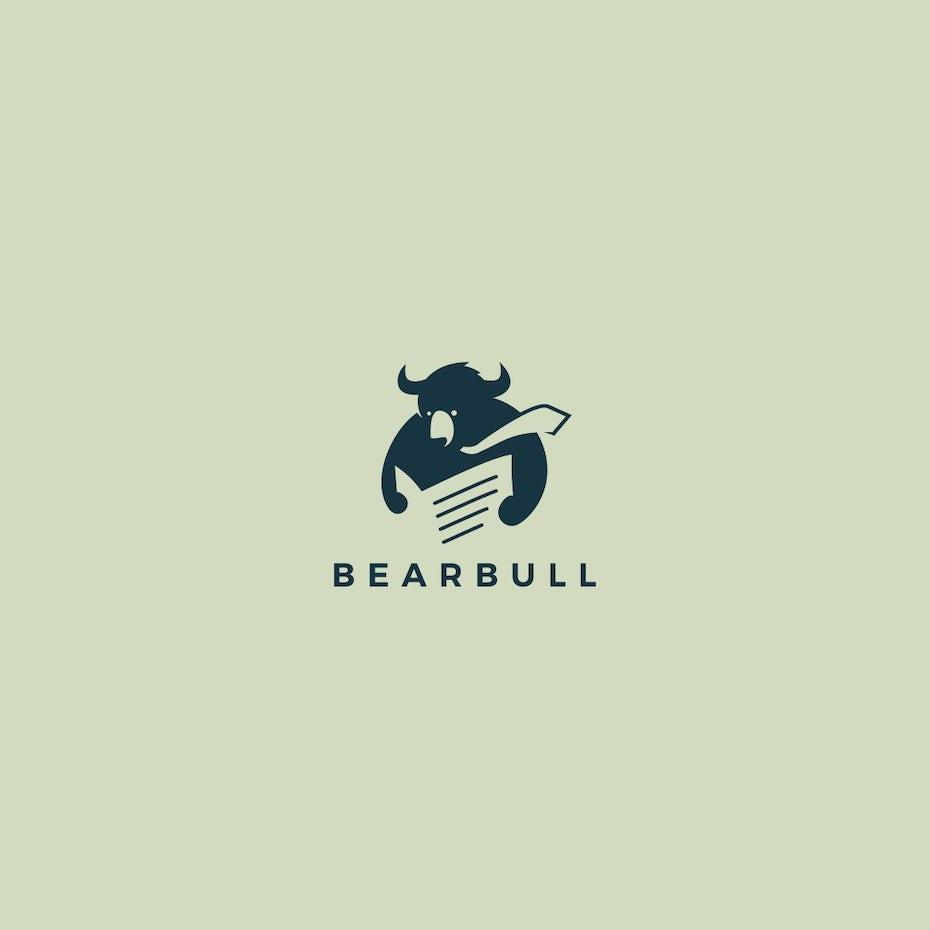 bear and bull mashup logo design