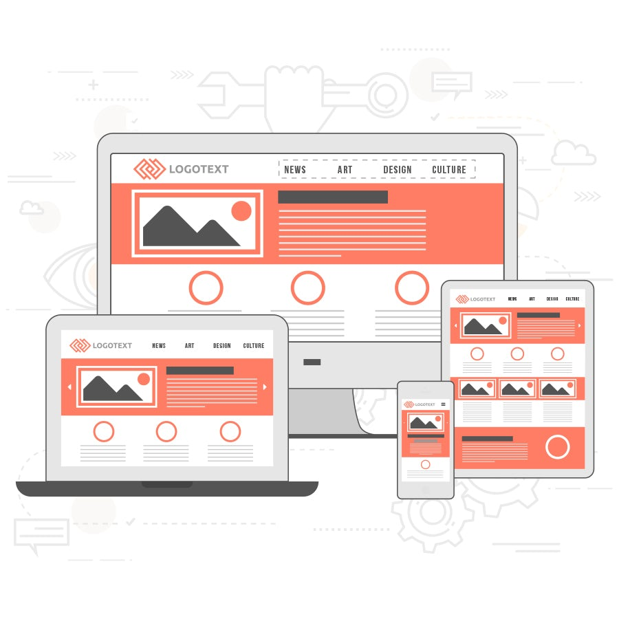 illustration responsives webdesign im website-layout auf laptop