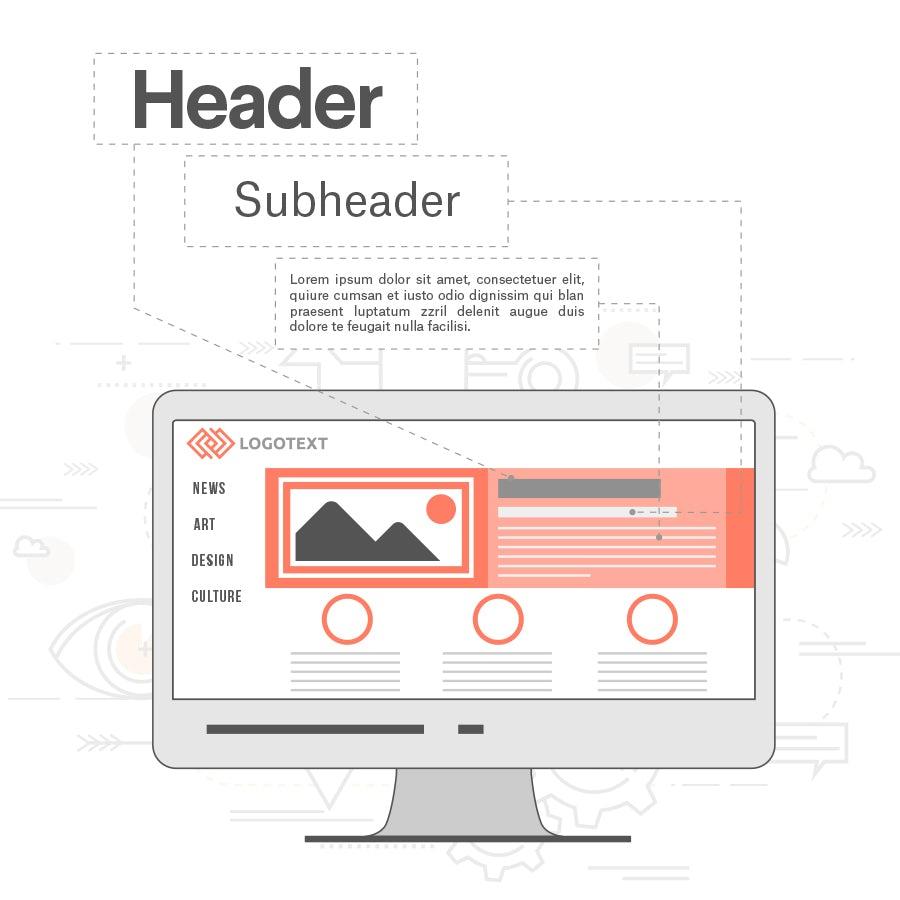 illustration der nutzung von typografie im website-layout auf laptop